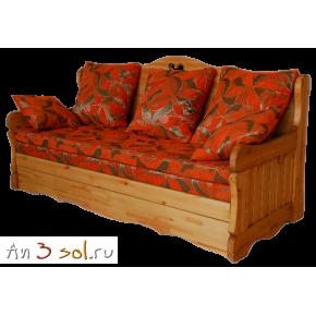 Диван-кровать КАНТРИ трехместный, массив сосны