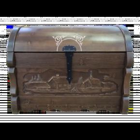 Сундук КАНТРИ с резьбой, массив сосны